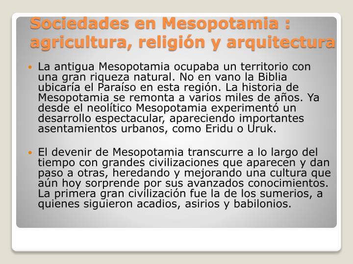 La antigua Mesopotamia ocupaba un territorio con una gran riqueza natural. No en vano la Biblia ubicaría el Paraíso en esta región. La historia de Mesopotamia se remonta a varios miles de años. Ya desde el neolítico Mesopotamia experimentó un desarrollo espectacular, apareciendo importantes asentamientos urbanos, como