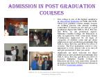 admission in post graduation courses