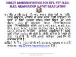 direct admission notice for ntt ptt b ed m ed graduation post graduation