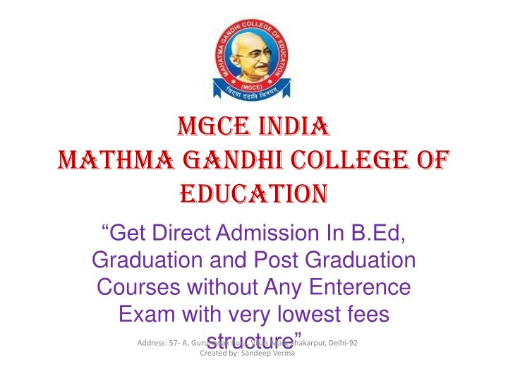 mgce india mathma gandhi college of education n.