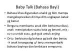 baby talk bahasa bayi