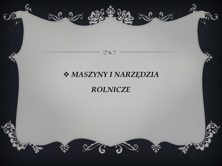 MASZYNY I NARZĘDZIA
