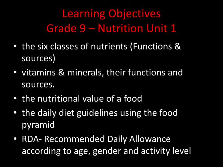 learning objectives grade 9 nutrition unit 1 n.