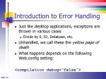 introduction to error handling