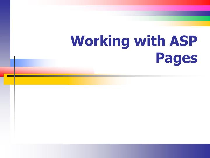 working with asp pages n.