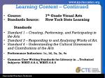 learning content continued