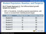 student population baseline and target s2