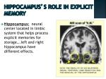 hippocampus s role in explicit memory