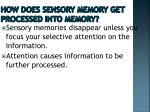 how does sensory memory get processed into memory