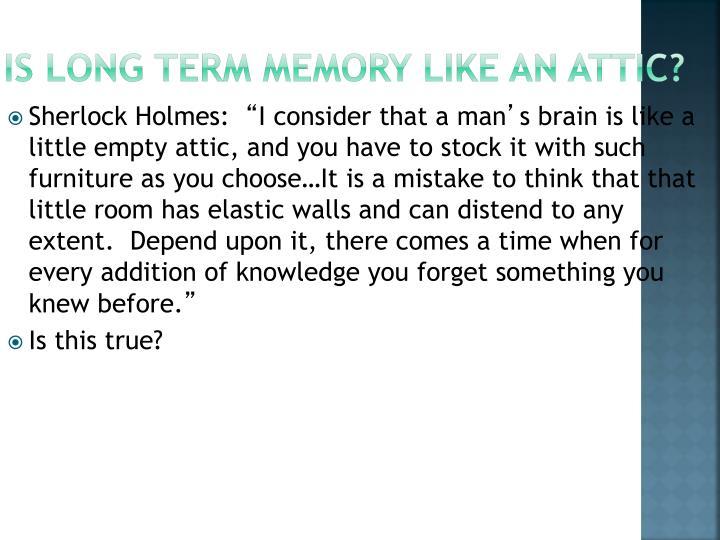 Is Long Term Memory Like an Attic?
