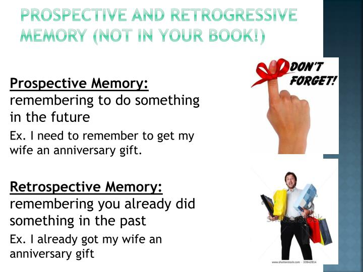 Prospective and Retrogressive Memory (NOT IN YOUR BOOK!)