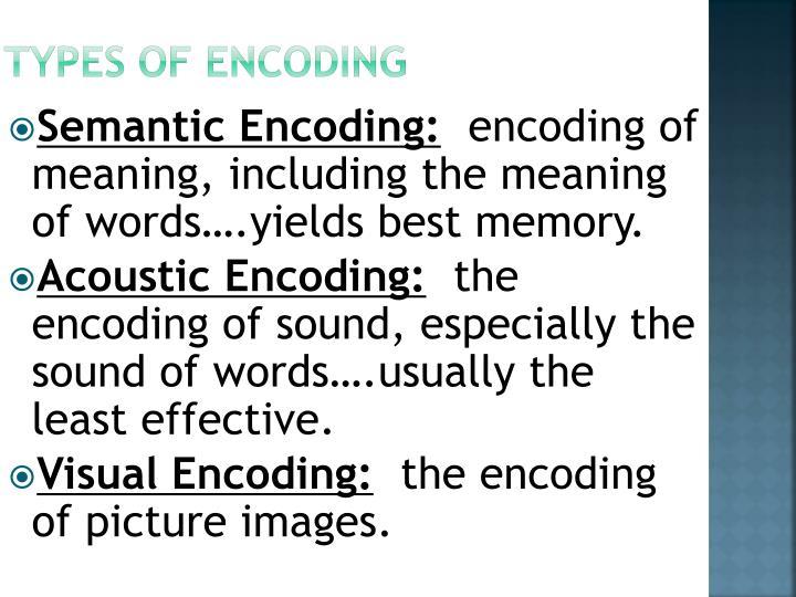 Types of Encoding