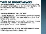 types of sensory memory