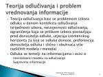 teorija odlu ivanja i problem vrednovanja informacije