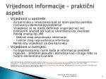 vrijednost informacije prakti ni aspekt