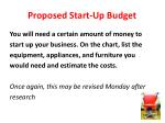 proposed start up budget