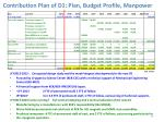 contribution plan of d1 plan budget profile manpower