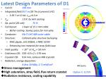 latest design parameters of d1