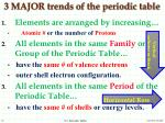 3 major trends of the periodic table