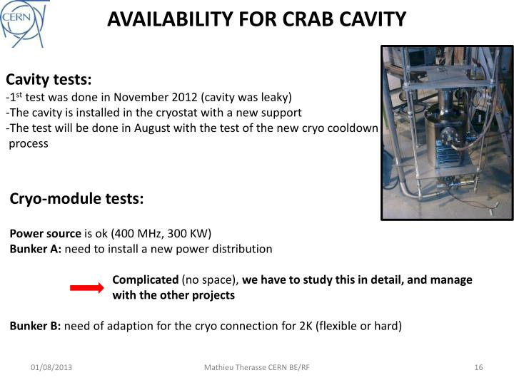 AVAILABILITY FOR CRAB CAVITY
