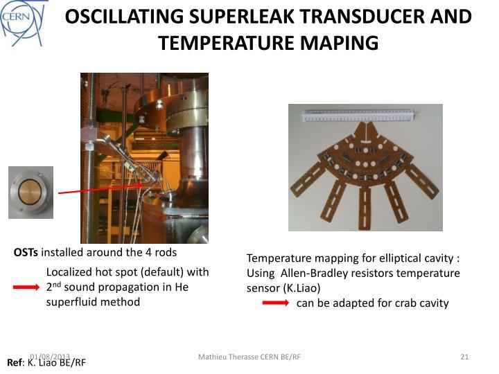 OSCILLATING SUPERLEAK TRANSDUCER AND TEMPERATURE MAPING