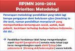 rpjmn 2010 2014 prioritas metodologi