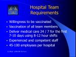 hospital team requirements
