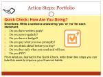 action steps portfolio