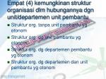 empat 4 kemungkinan struktur organisasi dlm hubungannya dgn unit departemen unit pembantu