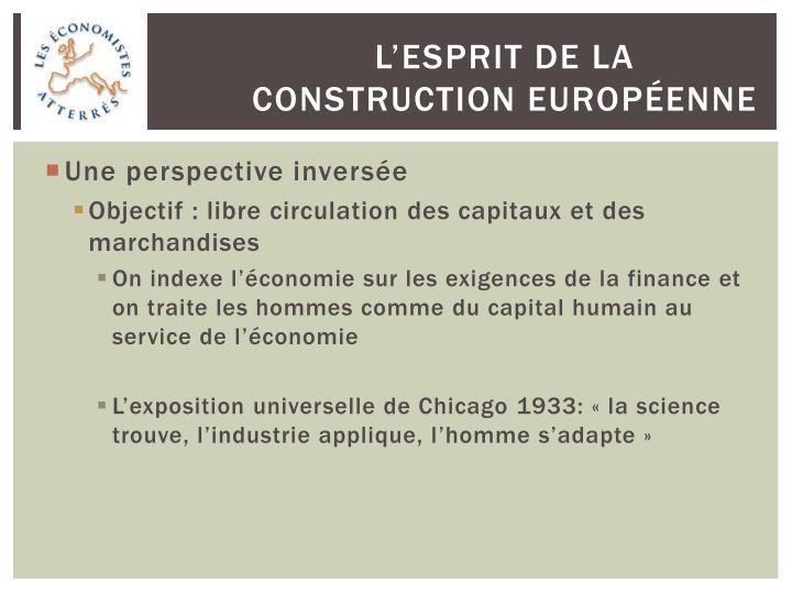 L'esprit de la construction européenne