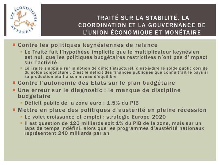 Traité sur la stabilité, la coordination et la gouvernance de l'Union économique et monétaire