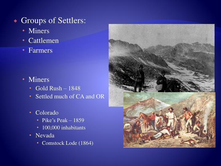 Groups of Settlers: