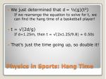 physics in sports hang time