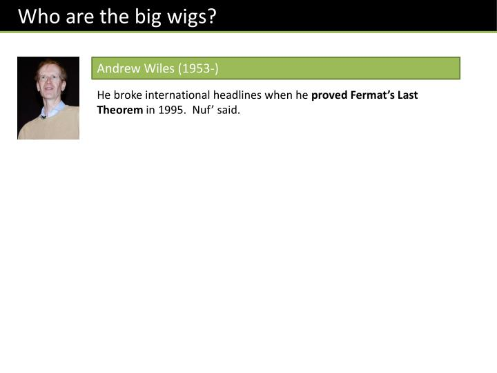 Who are the big wigs?