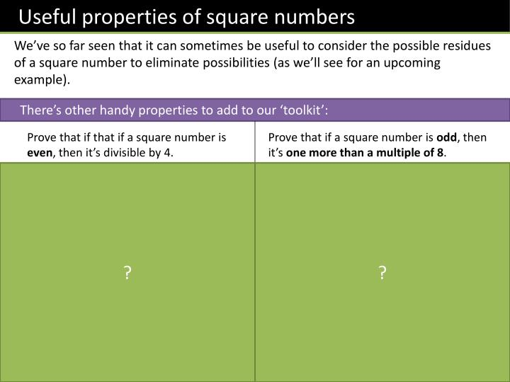 Useful properties of square numbers