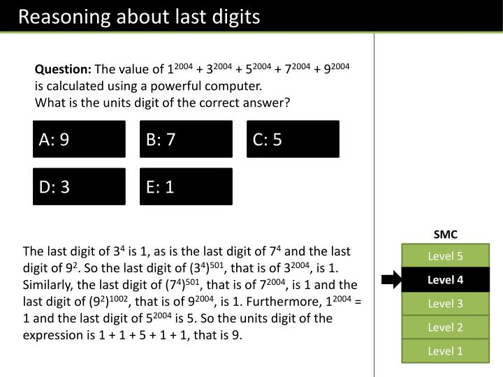 Reasoning about last digits