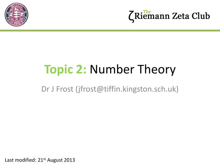 Topic 2 number theory