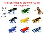 apply and design a dichotomous key for 8 organisms