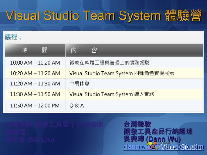 visual studio team system n.