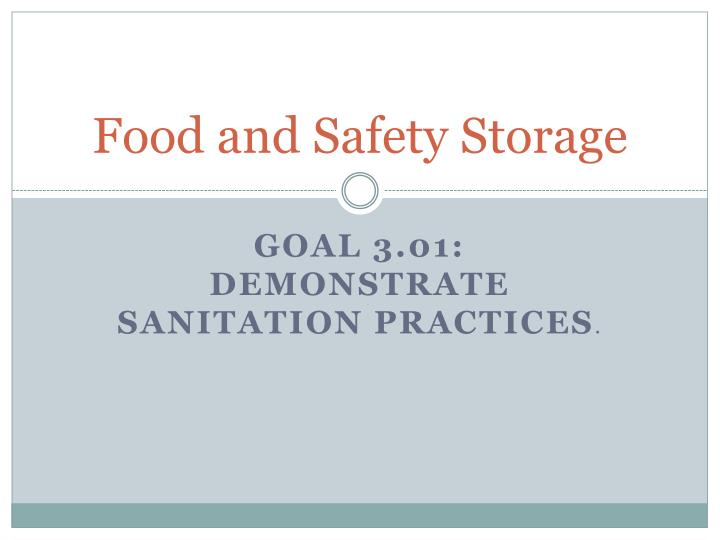 food and safety storage n.