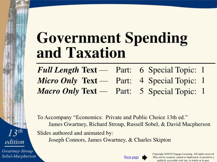 government spending and taxation n.