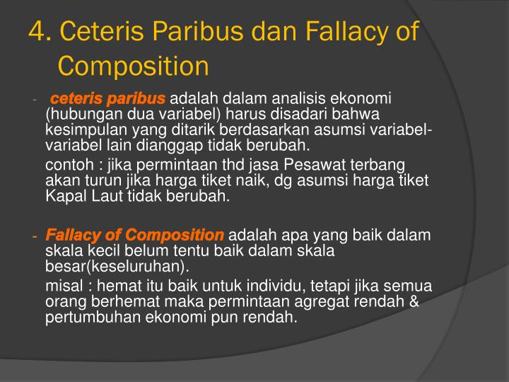 meaning of ceteris paribus essay The caveat of ceteris paribus gives economists the ability to bypass problems of complex individual cognition and motivations even basic supply and demand graphs, including elasticity and cross elasticity, rely on ceteris paribus monopoly, price discrimination, and perfect competition are also.