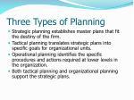 three types of planning