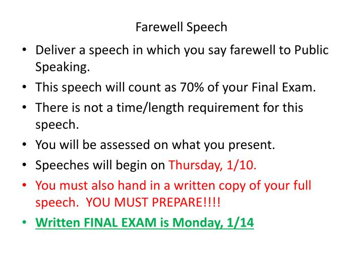 farewell speech n.