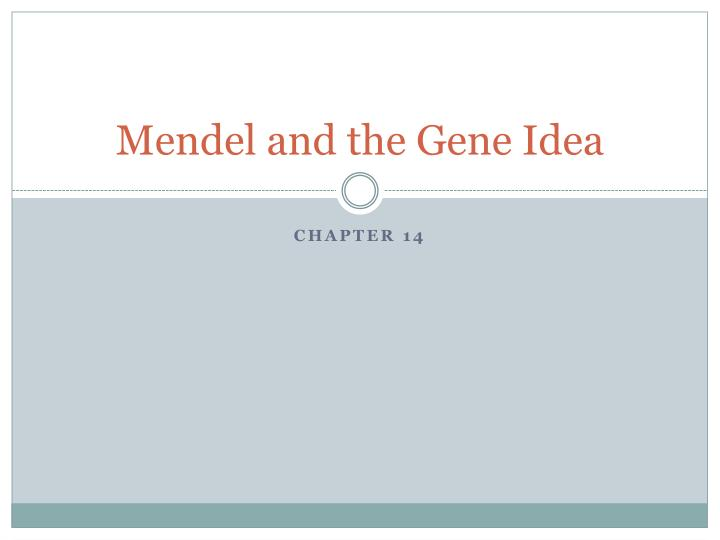 mendel and the gene idea n.
