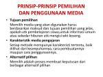 prinsip prinsip pemilihan dan penggunaan media