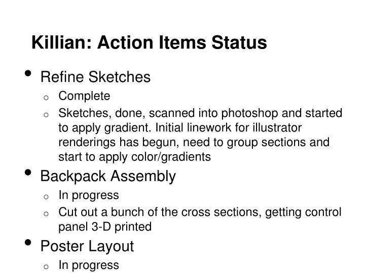 Killian: Action Items Status