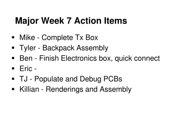 Major Week 7 Action Items