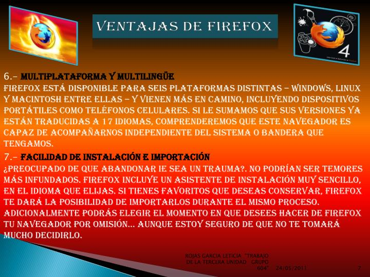 VENTAJAS DE FIREFOX