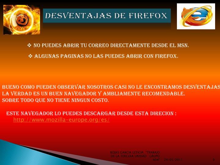 desventajas DE FIREFOX